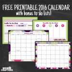 Download this free printable calendar for 2016 today! It includes a mini organizer with to do lists too.