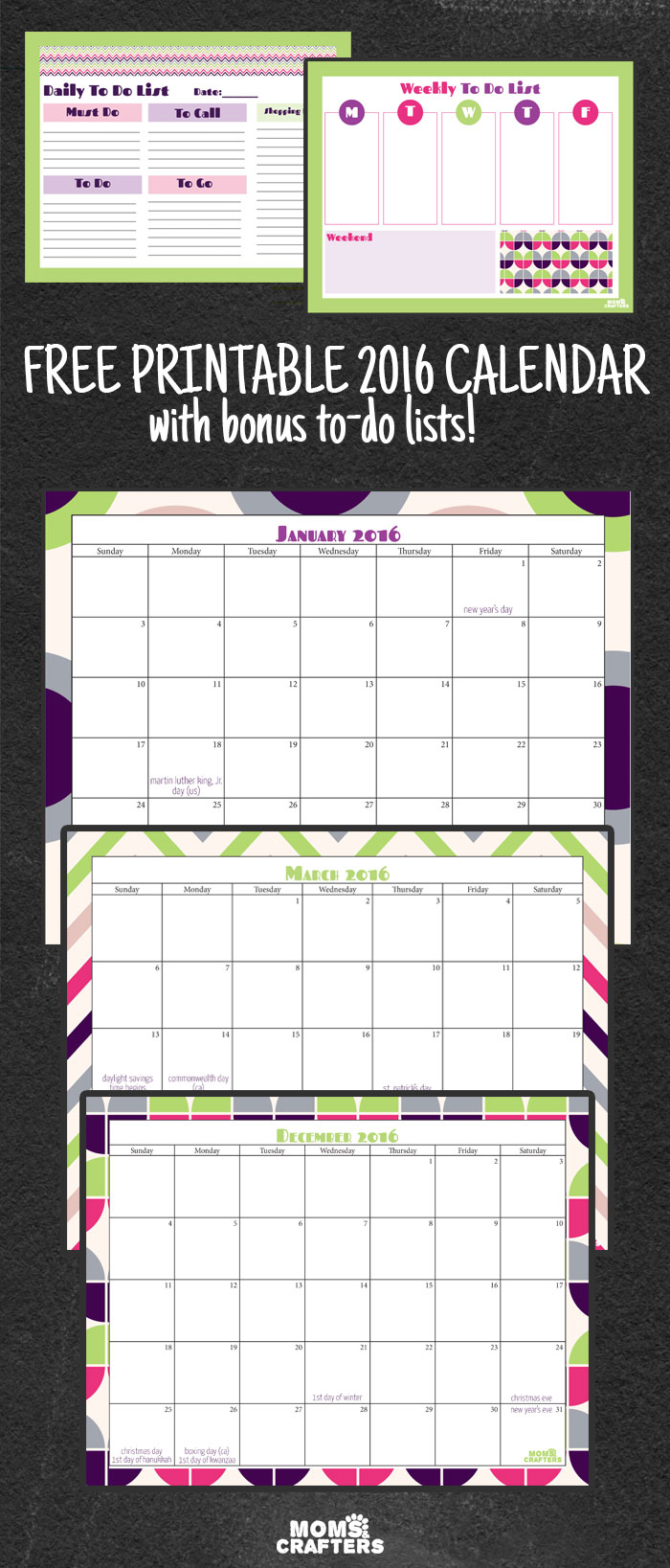 Download this free printable 2016 calendar today! It includes a mini organizer with to do lists too.