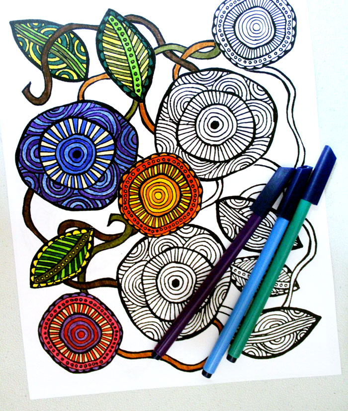 Download these free printable complex coloring pages for adults in a cool, artsy flower theme! These free complex coloring pages are hand drawn and so relaxing to color in.