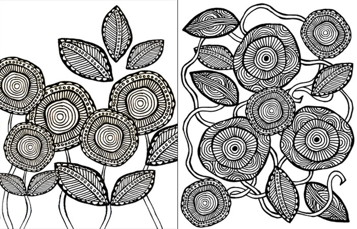 download these free printable adult coloring pages in a cool artsy flower theme these
