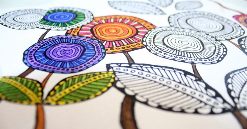 Download these free printable complex coloring pages in a cool, artsy flower theme! These free complex coloring pages are hand drawn and so relaxing to color in.