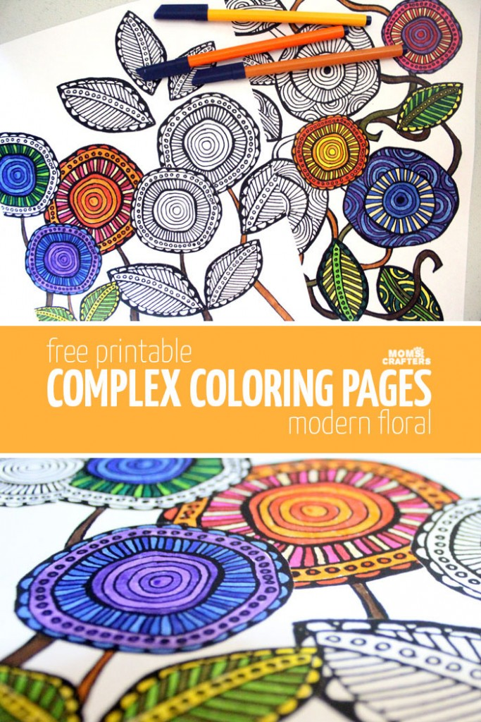 Free Printable Complex Coloring Pages - modern floral