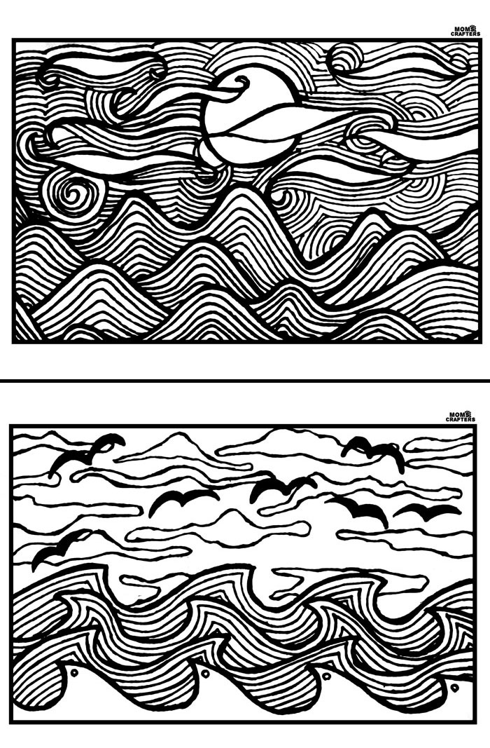 Download And Print These Free Printable Adult Coloring Pages The Magnificent Sunset Landscape Scenes Are