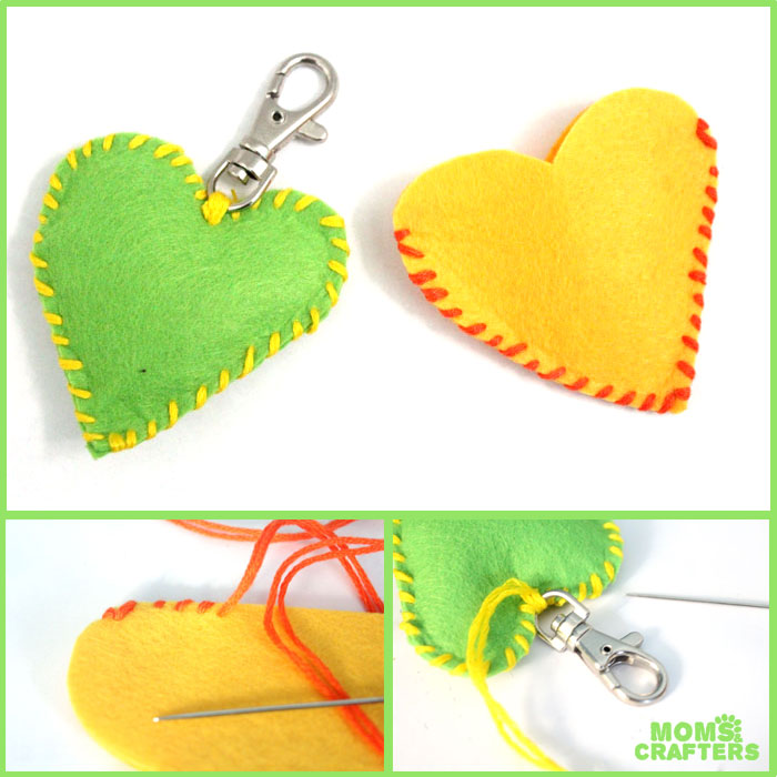 Make this adorable stitched felt heart craft for Valentine's day or any time of year! It includes a cute favor pouch version, and a plush heart keychain. IT's a great beginner sewing project for kids, teens, and tweens!