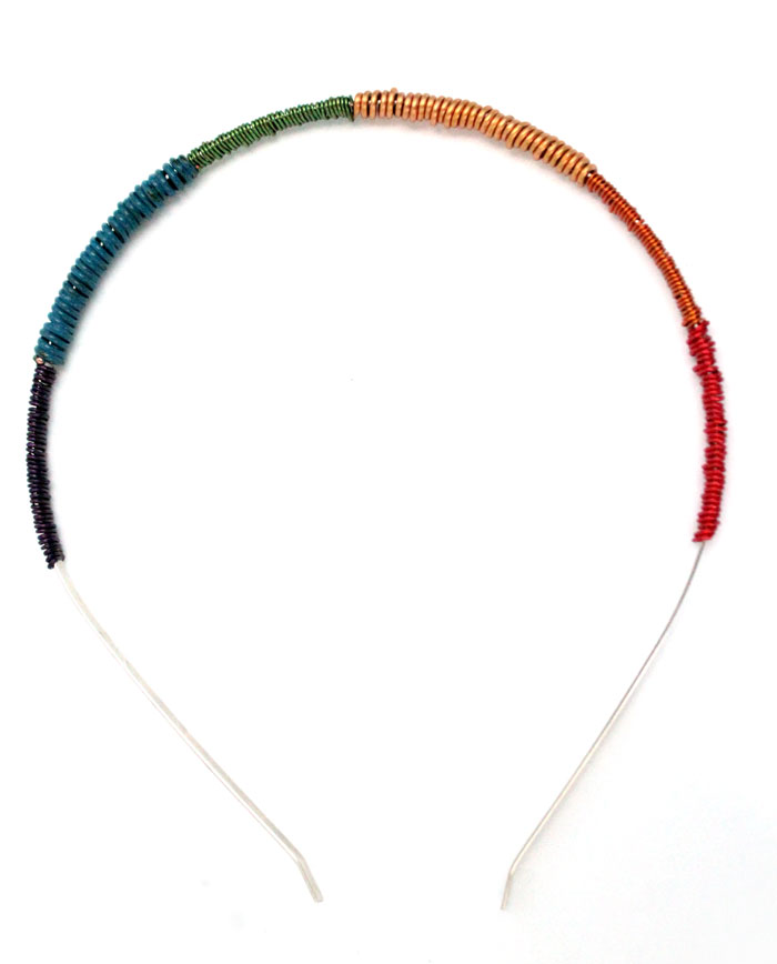 It's so easy to make this wire wrapped rainbow headband - I want to make ten! You can make it in any color, and don't need to know anything about jewelry making to start. It's an easy craft idea for teens, adults, or even big kids