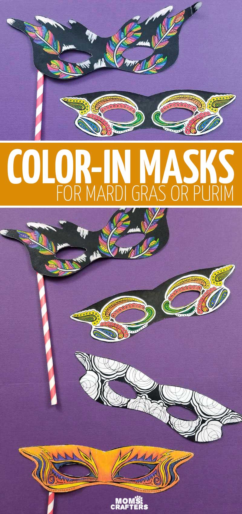 Grab this bundle of mardi gras masks and color-in masks for kids and adults! These cool printable coloring pages include a free sample for you to try it for mardi gras, purim, or halloween.