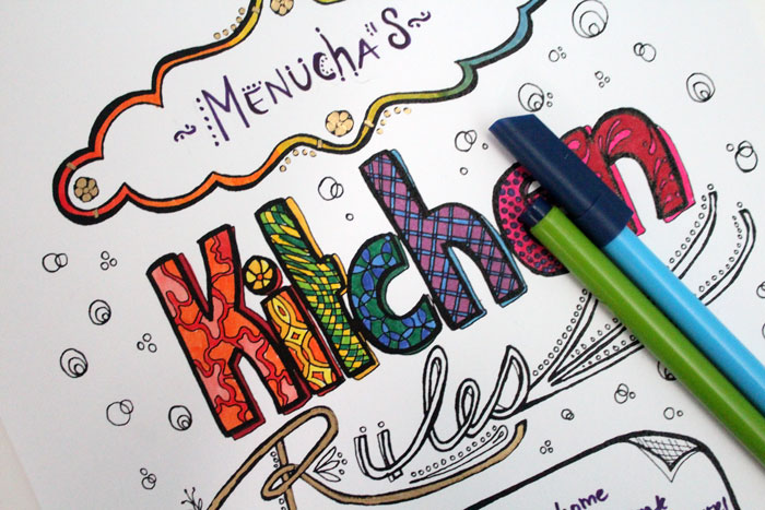 Free Printable Kitchen Rules Coloring Page for Adults