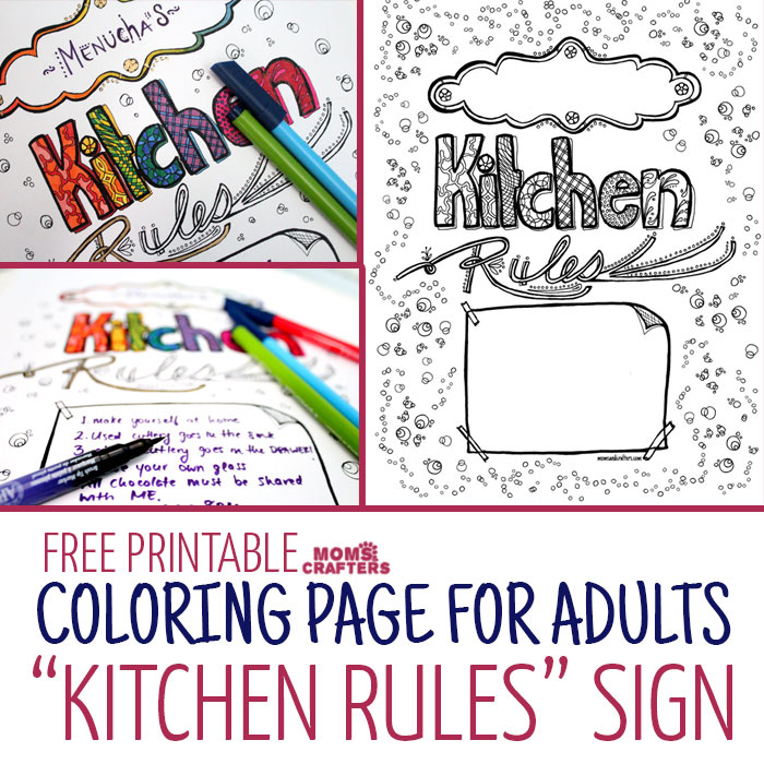 Decorate your kitchen with your own art! Color in this free printable coloring page for adults and add your own name and kitchen rules to it.