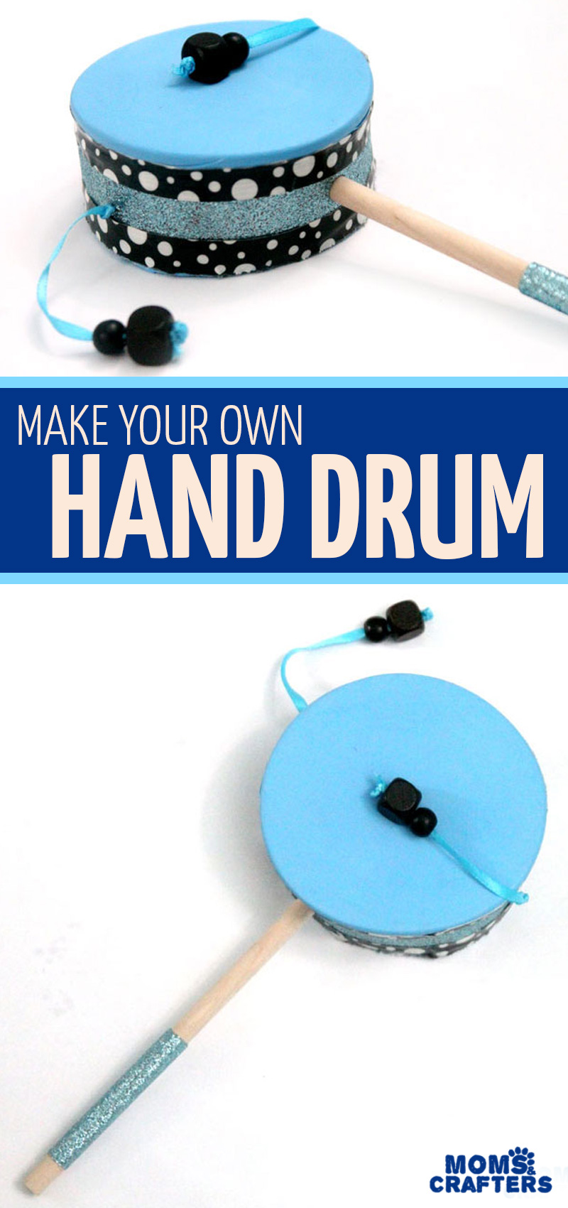 Make this super cool DIY toy hand drum with balloons, recycled Pringles containers and other basic craft supplies you probably have handy! #diytoy #noisemaker #newyearseve #kidscrafts #diymusicalinstrument #diymusic #musicalinstrument
