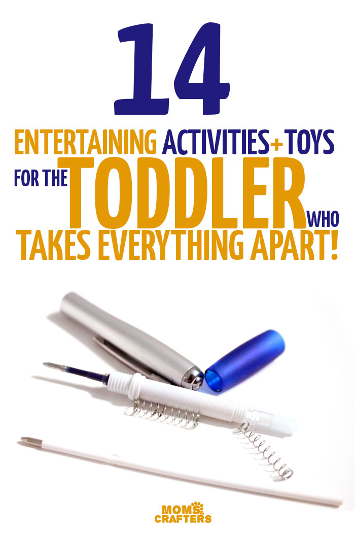 Easy toddler activities for toddlers who take everything apart! These great toddler activity ideas are easy and inexpensive, and will help a destructive toddler turn the habit into something constructive via tinkering, channeling your child's strengths into play, and will make parenting a much more positive experience!
