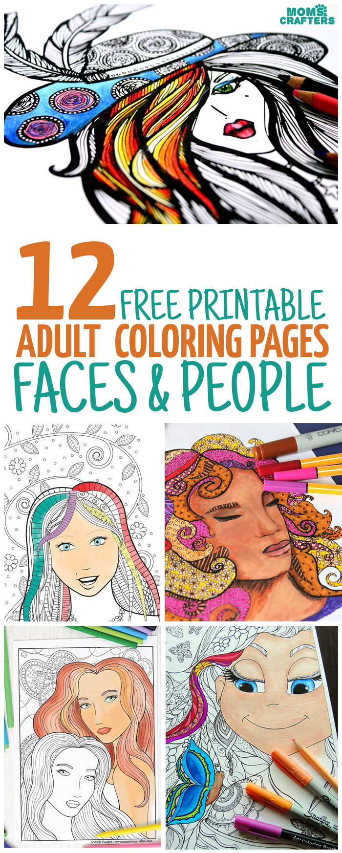 12 Free Printable Faces Adult Coloring Pages