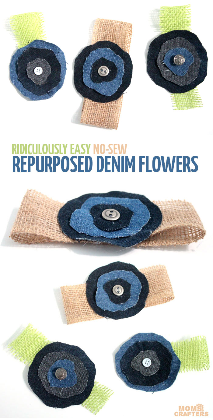 Make these super easy, shabby chic, burlap and recycled denim flowers. Perfect for making DIY accessories like headbands or hair clips, but I used it to update an old onesie. It's also a great way to upcycle and repurpose old jeans and a perfect craft for teens!