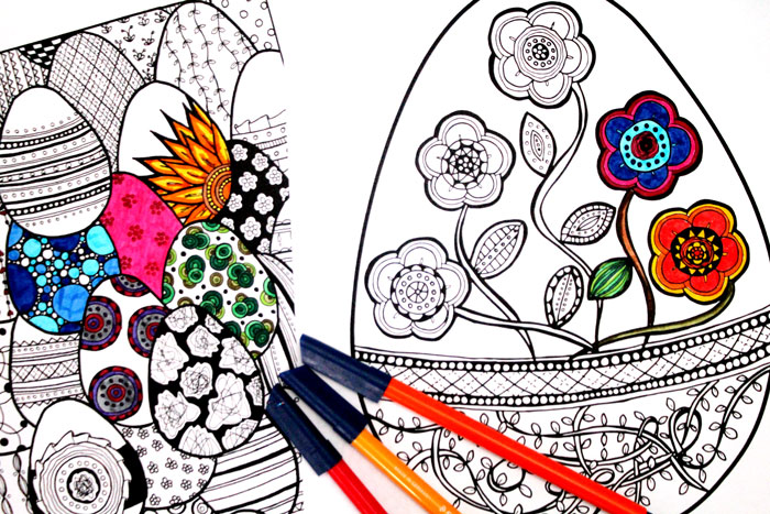 Want some free printable coloring pages for adults? Grab these cool complex Easter egg freebies!
