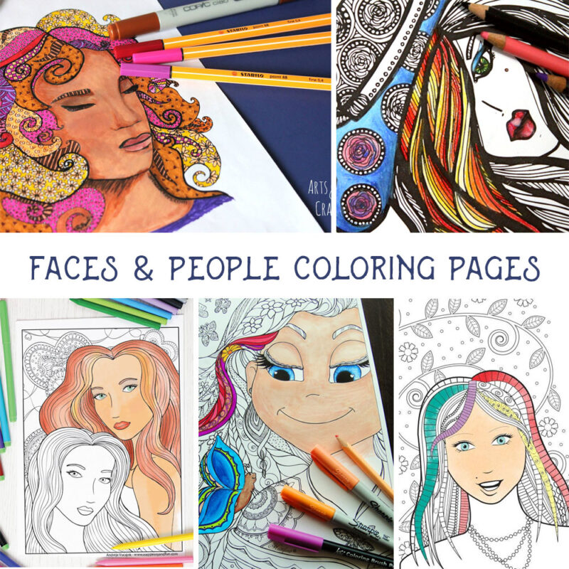 "You will love coloring this ""lady in hat"" free printable coloring page for adults! Click to get this complex coloring page for free, plus 4 more ""faces"" detailed colouring pages for you to enjoy for free."