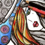 """You will love coloring this """"lady in hat"""" free printable coloring page for adults! Click to get this complex coloring page for free, plus 4 more """"faces"""" detailed colouring pages for you to enjoy for free."""