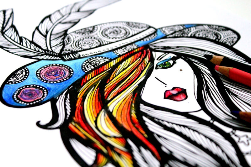 Free whimsical coloring pages for adults - You Will Love Coloring This Lady In Hat Free Printable Coloring Page For Adults