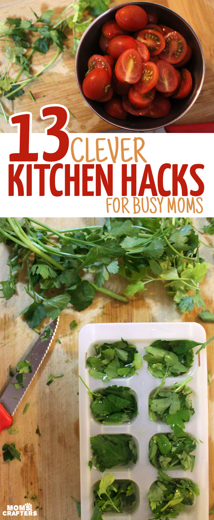 13 Clever Kitchen Hacks for Busy Moms - okay, you don't need to be a mom for all of these life tips to be relevant, but a lot will also really help in families with kids. These life hacks are so genius - it will make your cooking much easier!