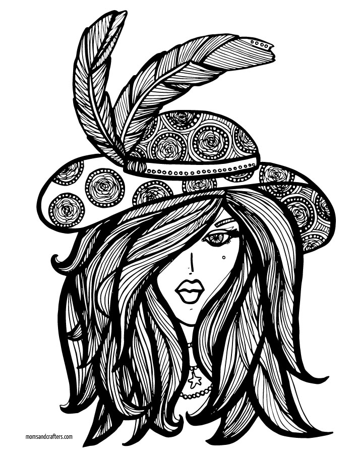 Download these free printable coloring pages for adults! This faces theme sets includes this lady in a big hat, with links to the rest of the free complex coloring pages.