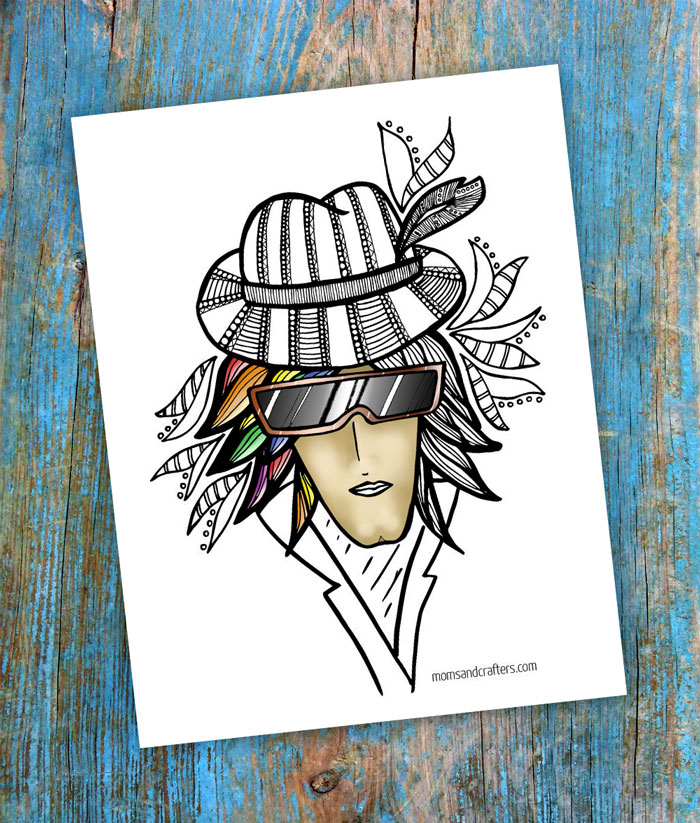 A free printable coloring page for adults, free from the illustrator! You'll love coloring this eccentric