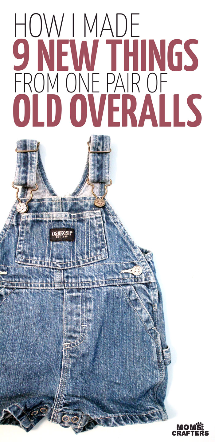 Wow! You'll never want to throw out your kids old clothes again! This mother uses a single pair of old overalls in a baby size to make nine recycled denim crafts - and still had some left! Click for the DIY tutorials and to see how.