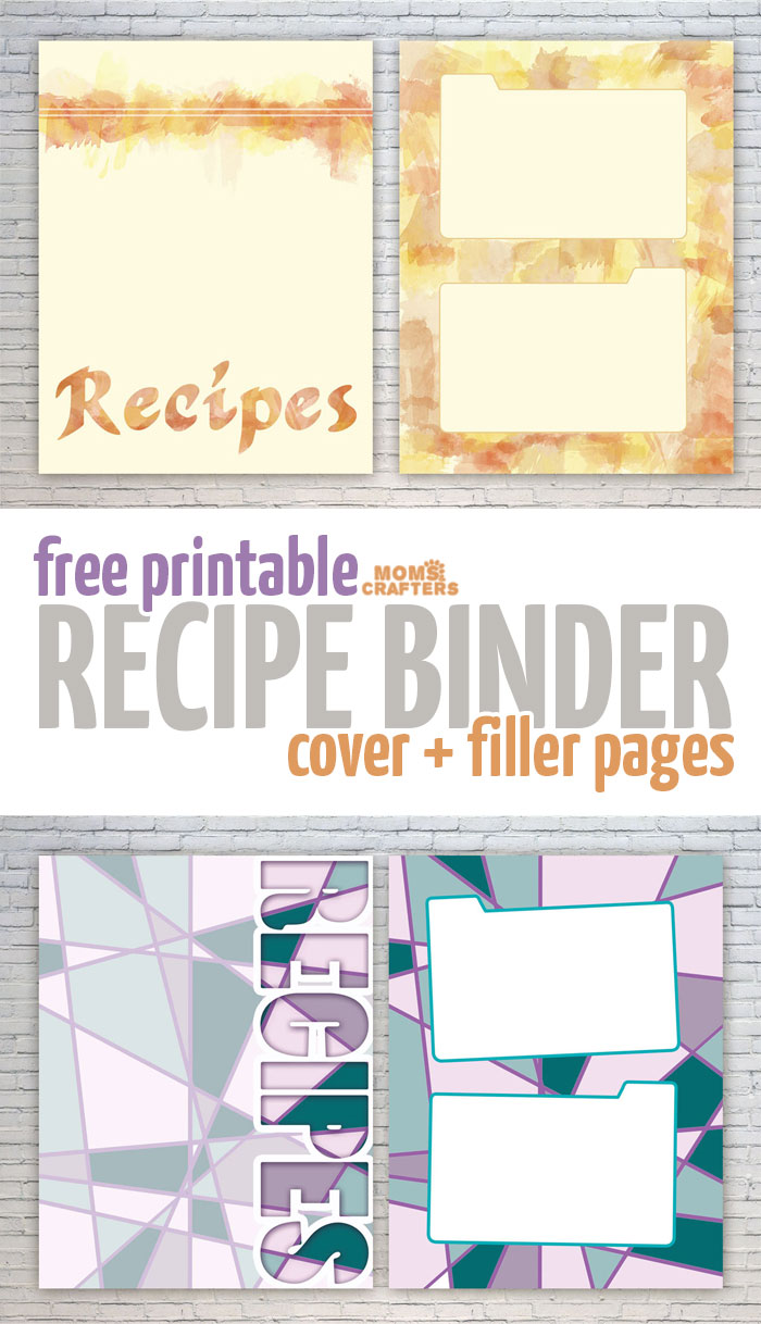 Download these free recipe binder printables to organize your kitchen! You get free printable recipe cards pages, plus a cover for the binder - in two cool, trendy print options.
