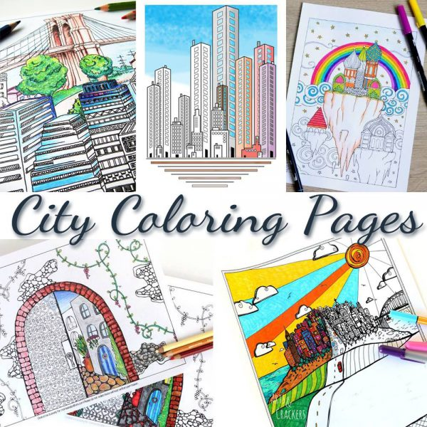 Grab this pretty amazing free printable adult coloring page! This arched city has tons of fun detail to color, and it includes 4 more city themed colouring pages for adults for you to download for free.