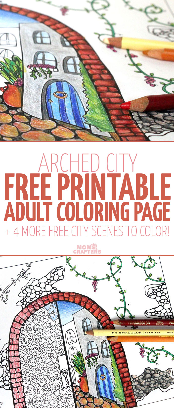 Grab this pretty amazing free printable coloring page for adults! This arched city has tons of fun detail to color, and it includes 4 more city themed colouring pages for adults for you to download for free.