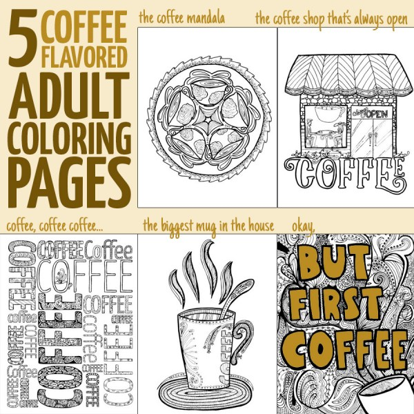 If you love coffee and you love adult colouring, you'll want to grab these printable coloring pages for adults! These coffee themed complex coloring pages are the best way to relax, and even include a coffee mandala!!