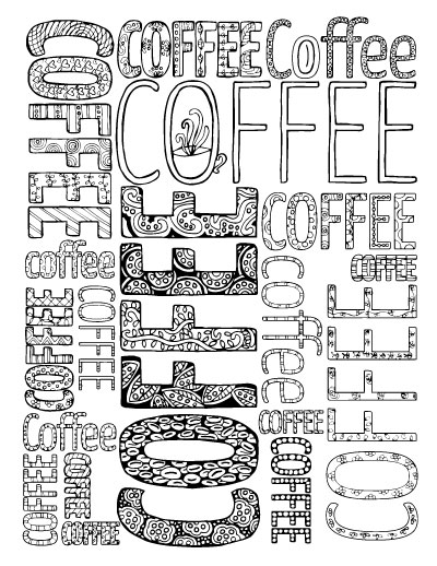 Adult Coloring Pages for Coffee Lovers - Moms and Crafters