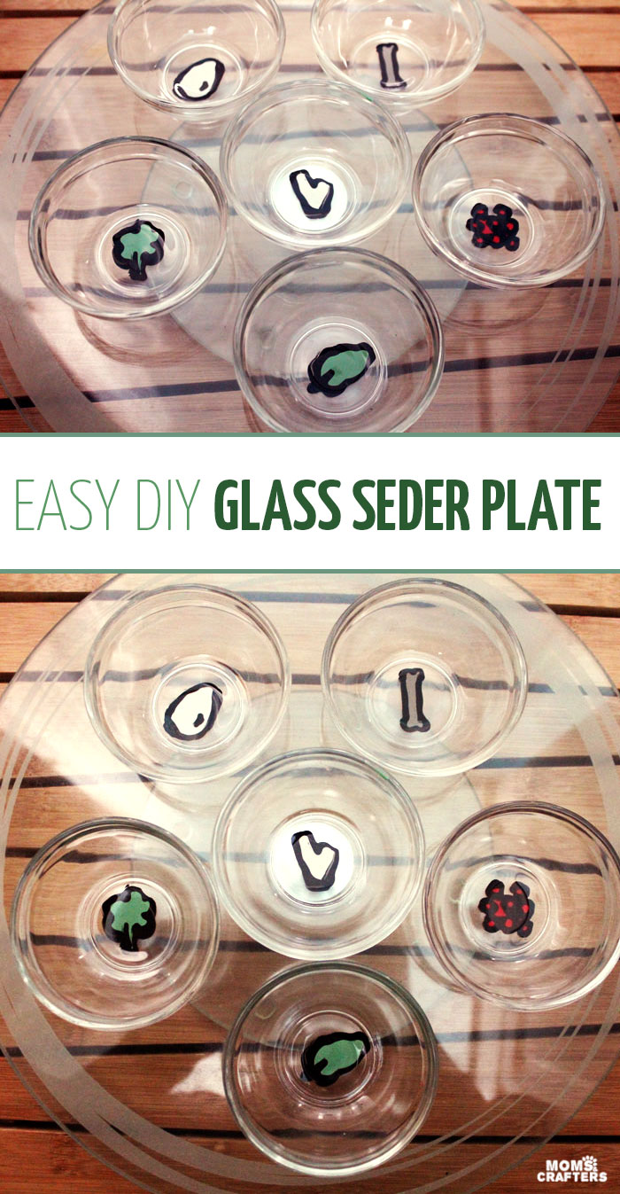 "Make an easy DIY seder plate for Passover! This glass ""ke'arah"" plate is so easy to make and great if you are spending the Jewish holiday of Pesach by guests as it makes a great, portable gift (plus, it's super easy to make!)"