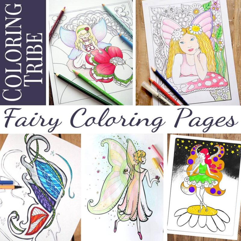free printable fairy coloring page for adults moms and crafters