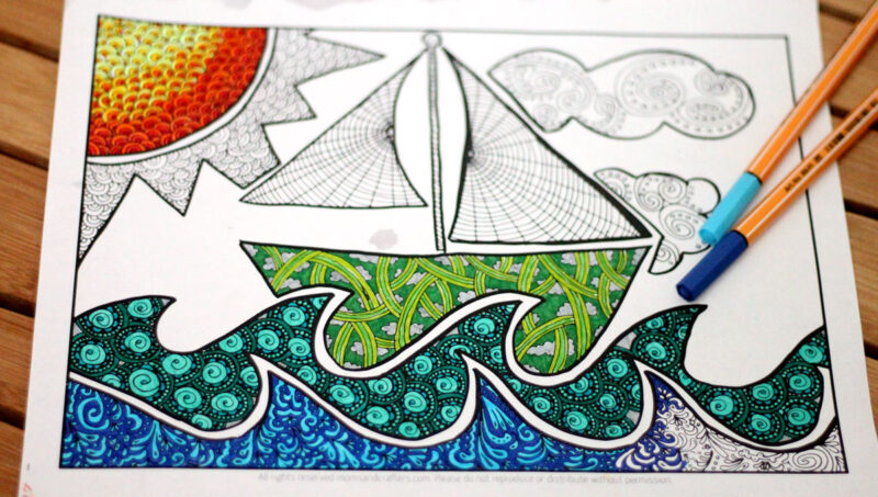 Free Printable Coloring Page for Adults: Doodle boat!