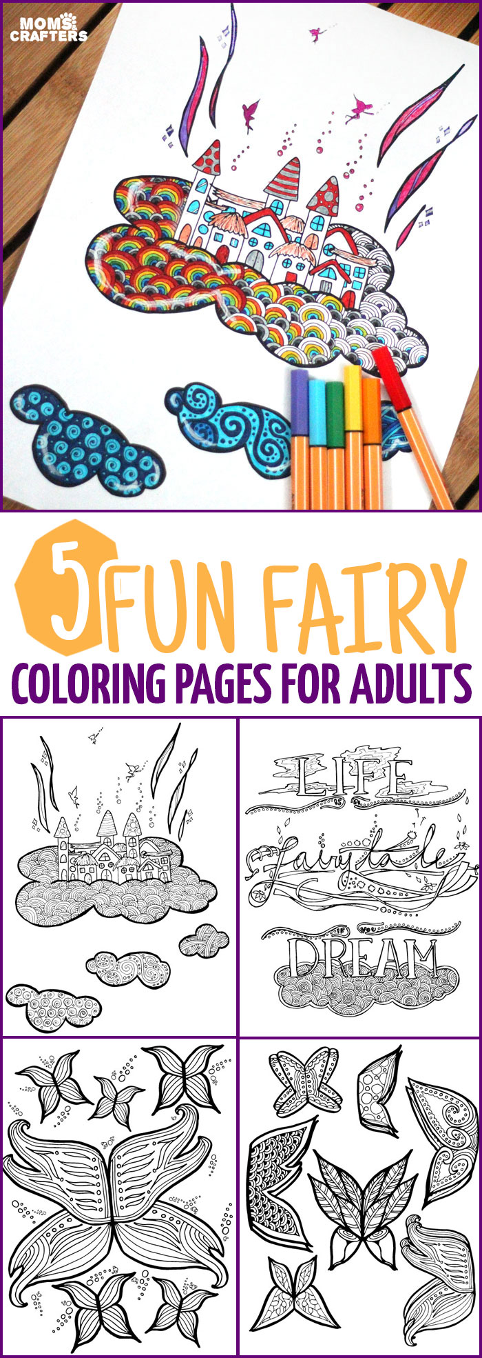 5 Fairy Coloring Pages for Adults! - Moms and Crafters