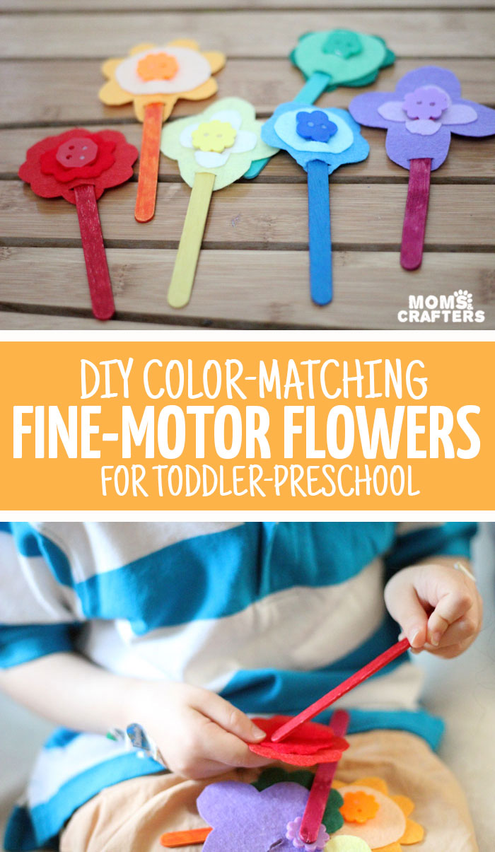 Diy fine motor toy color matching flowers for Fine motor activities for adults
