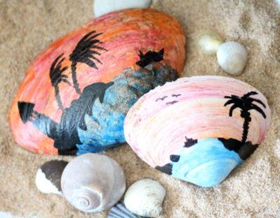 Painted Seashell Craft – sunset scenes