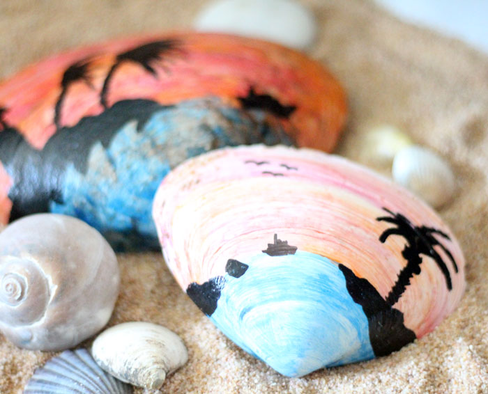 Painted Seashell Craft Sunset Scenes Moms And Crafters