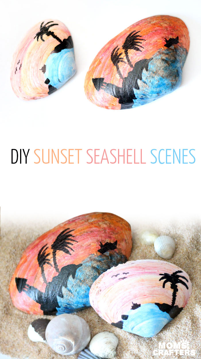 Make a beautiful painted seashell craft that totally fits! The stunning sunset beach scene is so appropriate for shells and makes a great art class prompt too - perfect for some summer fun!