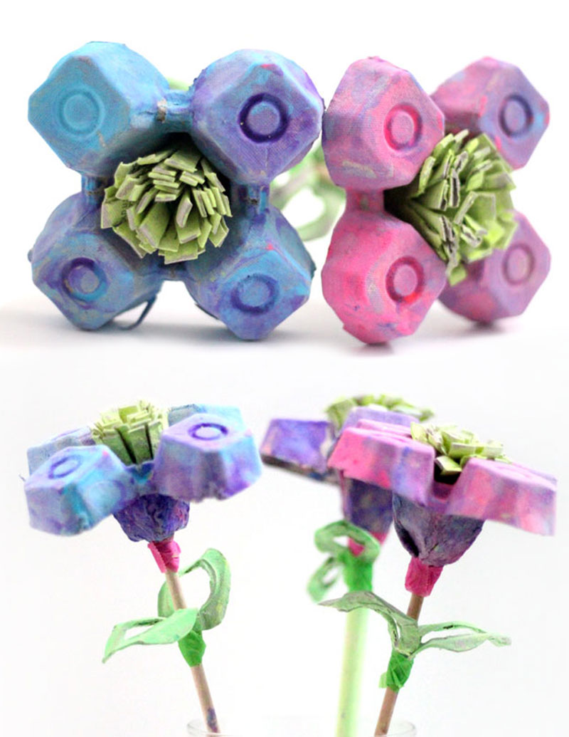 DIY egg carton flowers - how to make flowers from egg cartons