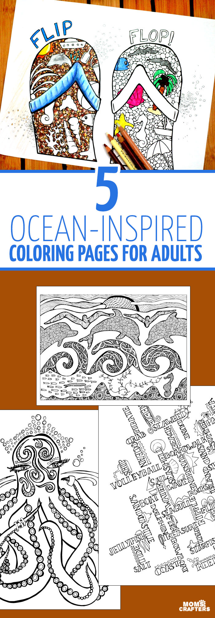 These beach themed ocean coloring pages for adults are so cool - many different levels of difficulty, and unique complex hand drawn pages. YOu'll love these sea coloring pages, especially the flip flops.