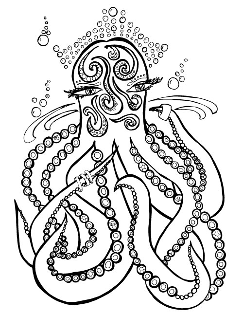 Ocean coloring pages for adults - sea doodles - Moms and Crafters