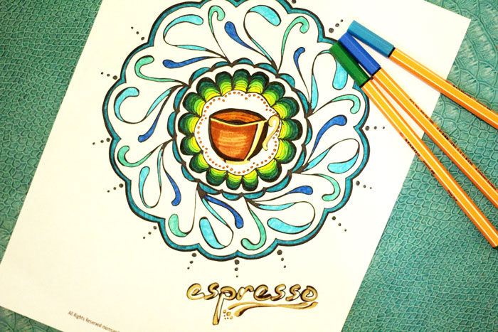click here to download your coffee and tea mandala coloring pages for adults - Mandala Coloring Books