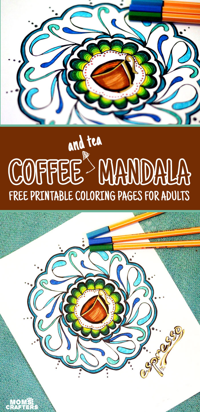 I love these coffee mandala coloring pages for adults! It comes in a tea version and an espresso version - great for relaxing and coloring in and then hanging in my kitchen. I want to hang it in my breakfast nook.