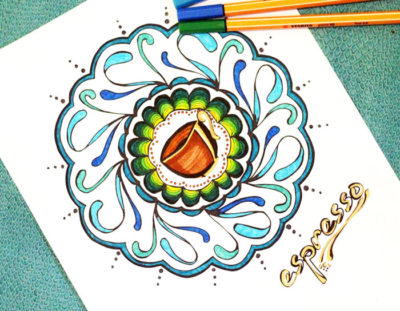 Coffee and Tea Mandala Coloring Pages for Adults