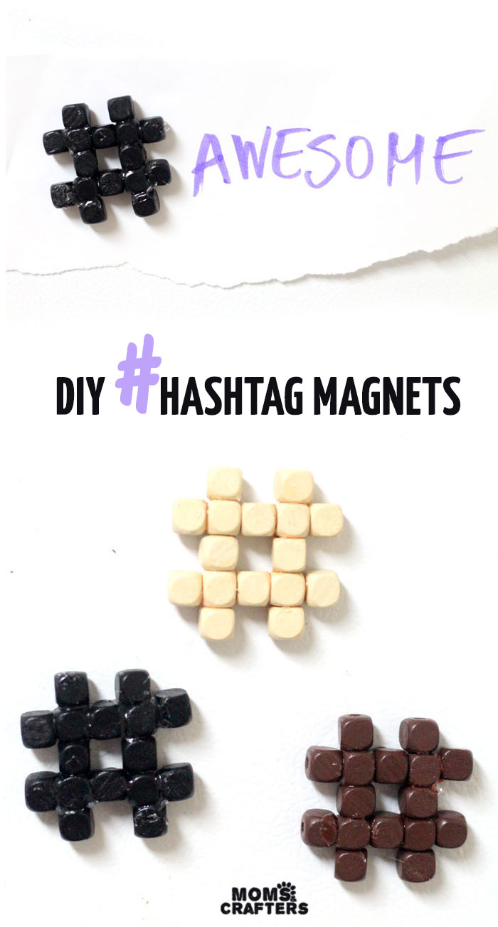 These adorable hashtag magnets are so easy to make and inexpensive too. Make one for yourself, one for a friend - or ten for each! It's a great, simple back to school or year-round craft for teens, tweens , and anyone who likes themselves a little hashtags!