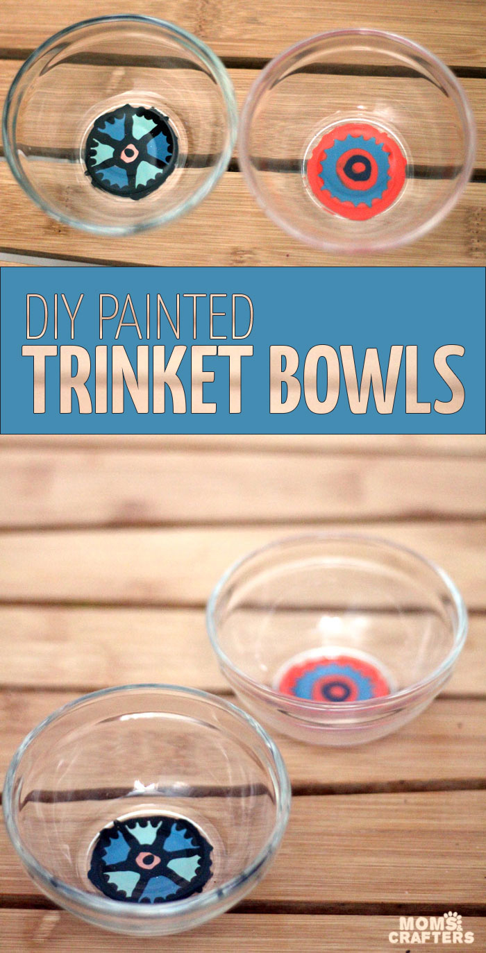 Make these magnificent DIY painted glass bowls to drop your keys, trinkets, or candies into! They are made using materials you likely have handy and are so easy and pretty! The mandala-inspired pattern is made using a combination of paints. It's an easy nail polish craft for you to try for the home.