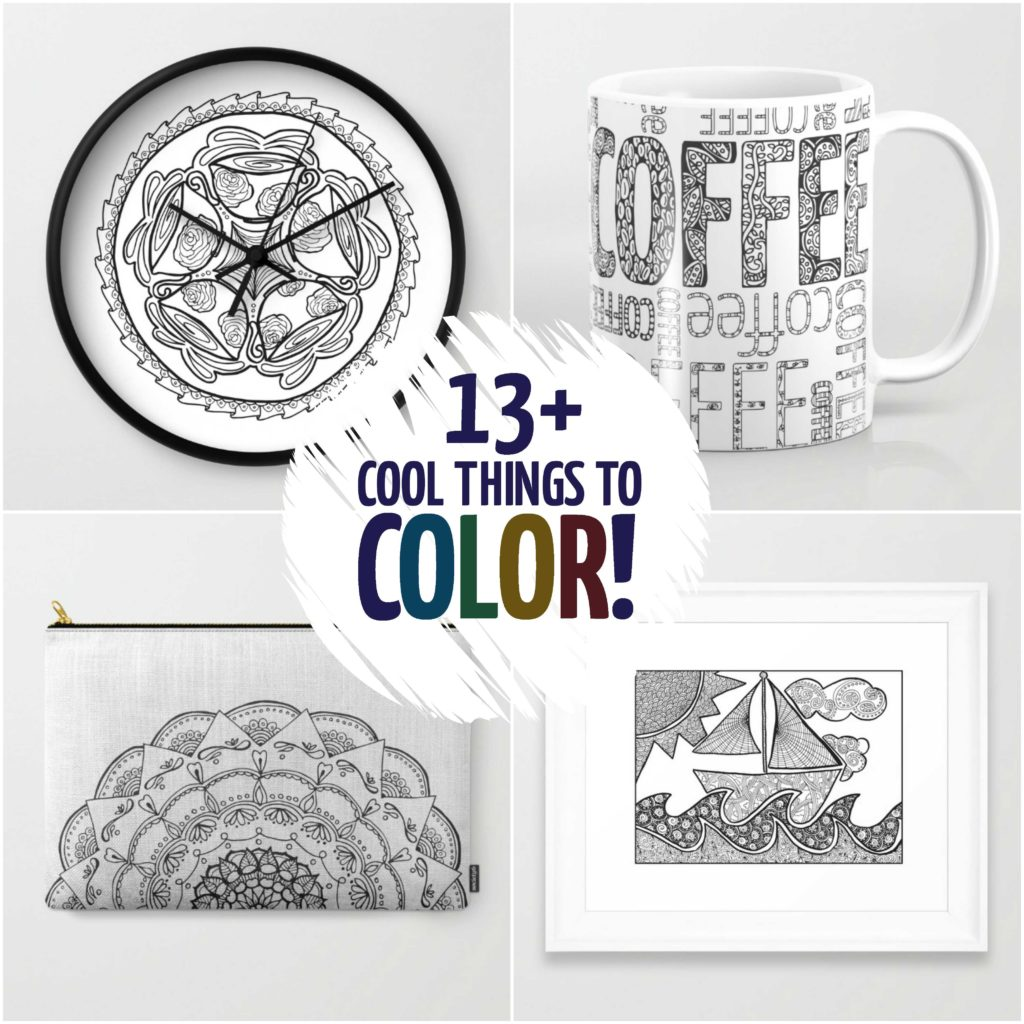 Do you love adult coloring books and pages but want to take it a step further? These things you can color in feature detailed designs for grown-ups to color! You don't need to look for things to do with your colouring pages - you can just color these right away! Wouldn't they make perfect gift ideas?!