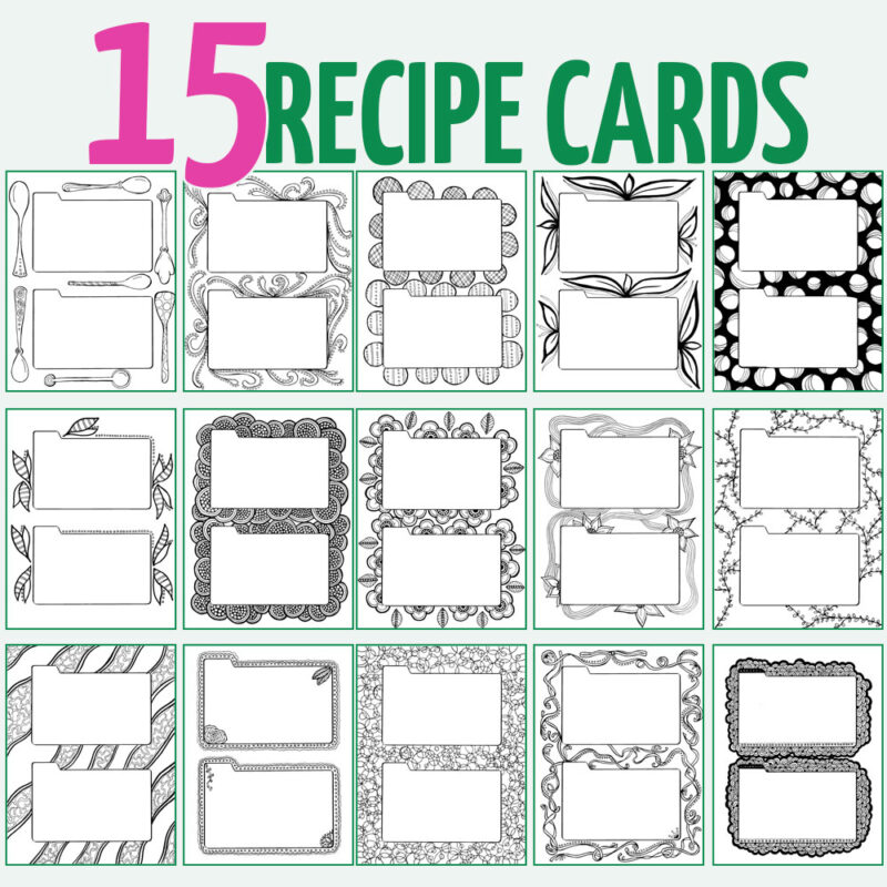 Printable recipe binder coloring pages for adults - so cool! this is such an artful and unique way to organize recipes you get from others.