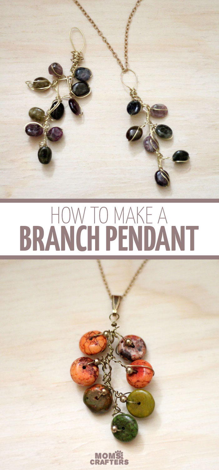 This stunning branch necklace is cheaper and easier to make than you might think! It's a great beginner wire wrapping jewelry making tutorial, and is a great autumn craft or DIY gift idea for the holidays!