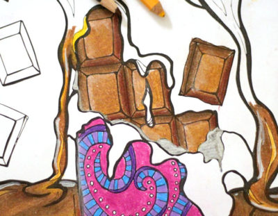 Chocolate with Chocolate Coloring page for adults (free printable)