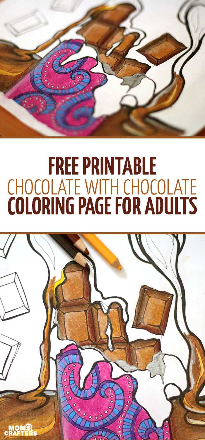 Do you also eat your chocolate with chocolate? Well, I'm dieting now which is why I need to color chocolate instead... Get these fre printable chocolate with chocolate coloring pages for adults to relax and unwind with! They are fun, detailed, complex pages for a fun colouring challenge!